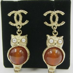 Chanel Amber Owl Drop Earrings! (Firm Price!)